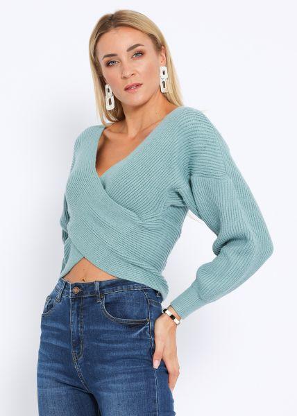 Crop-Pullover mit Wickeloptik, petrolgrün