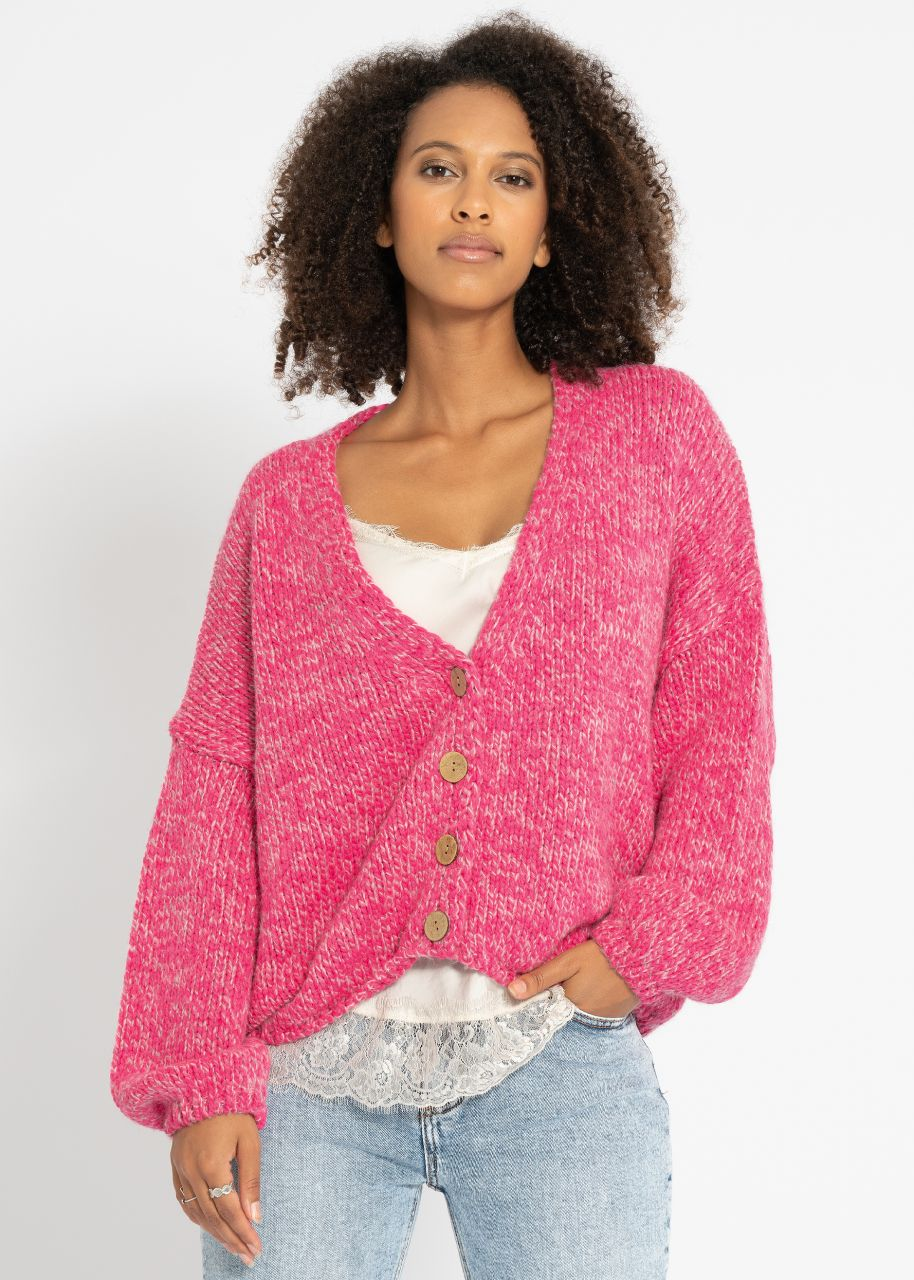 Warme Strickjacke, pink