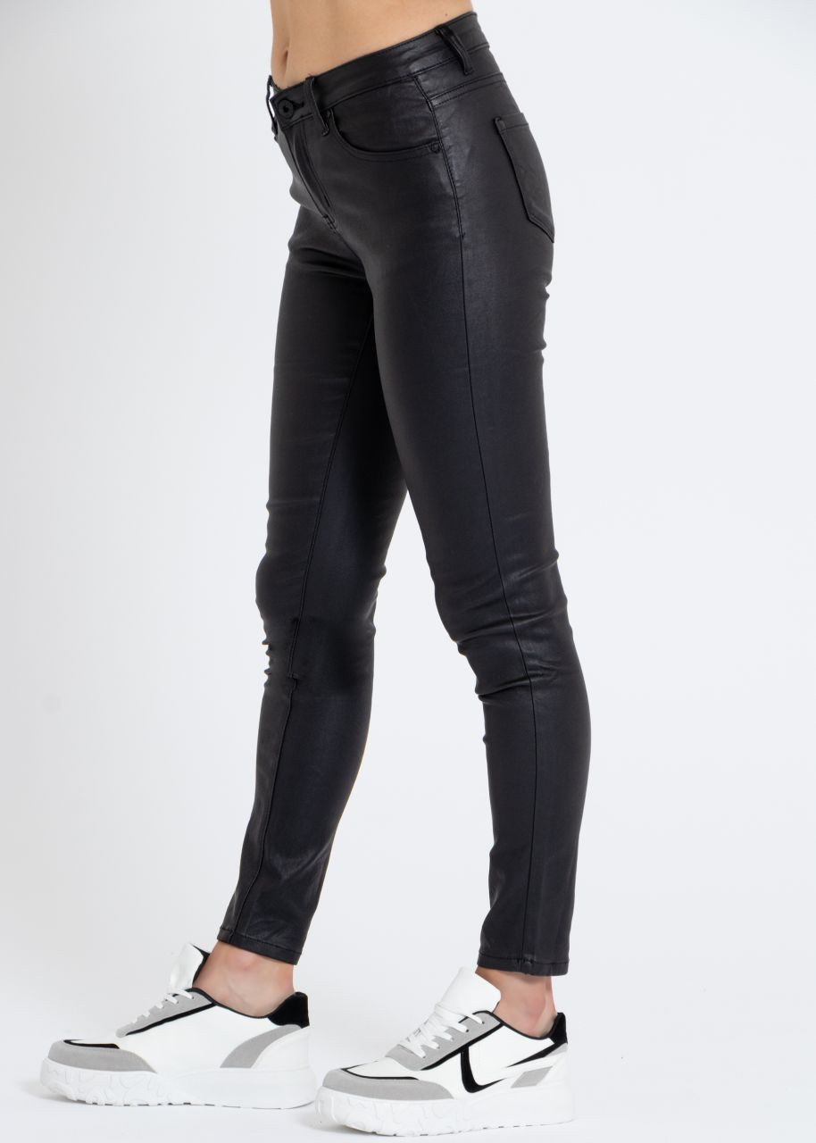 Skinny Pants in Leder-Optik, schwarz