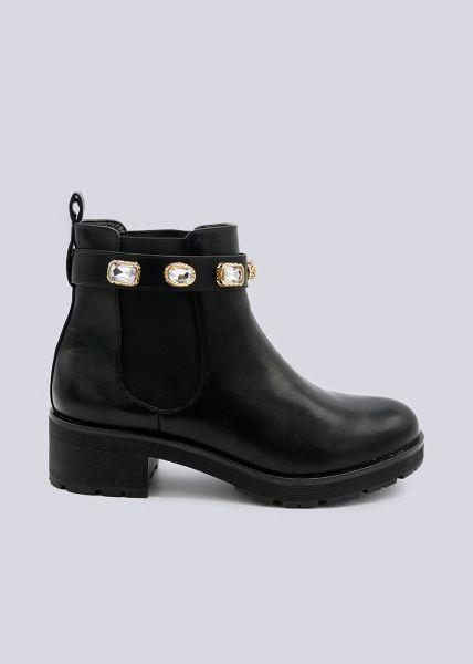 Chelsea-Boots mit schimmernden Schmucksteinen, schwarz