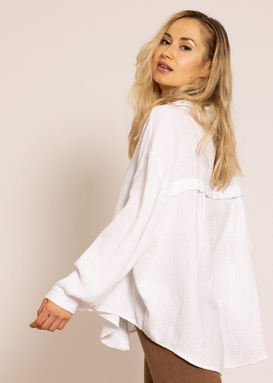 Ultra oversize Blusenhemd, kürzere Variante, weiß