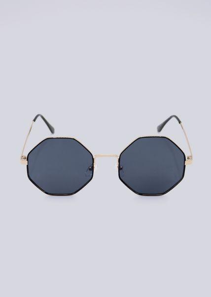 Sonnenbrille, 8-eckiger Rahmen, schwarz