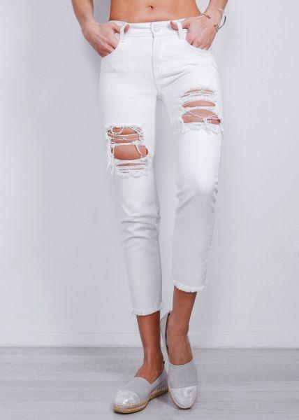Destroyed Highwaist Jeans, weiß
