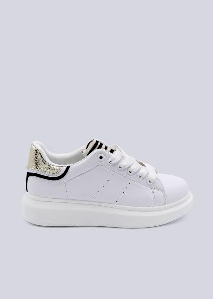 Plateau-Sneaker mit gold Ferse, weiß