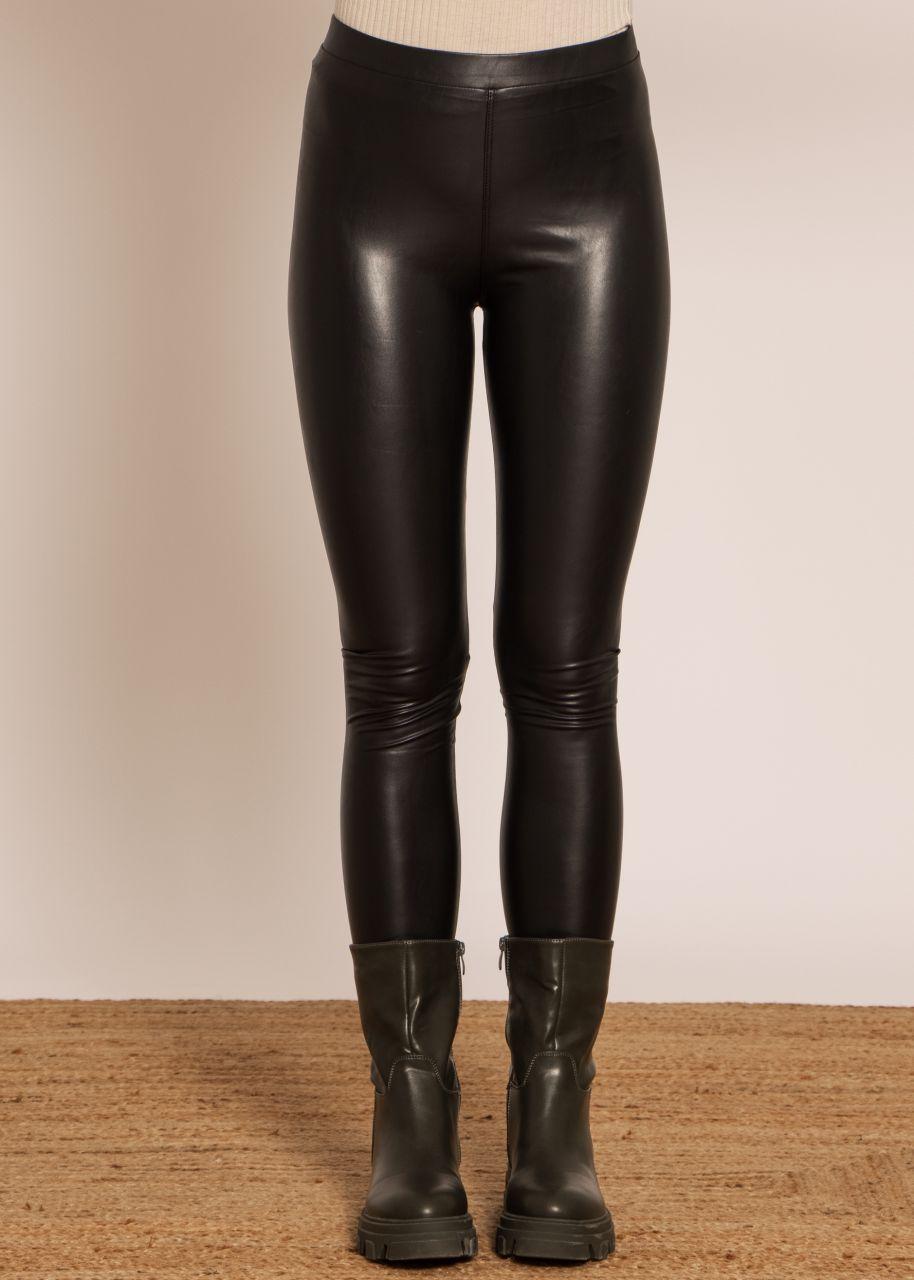 Leder-Leggings, schwarz