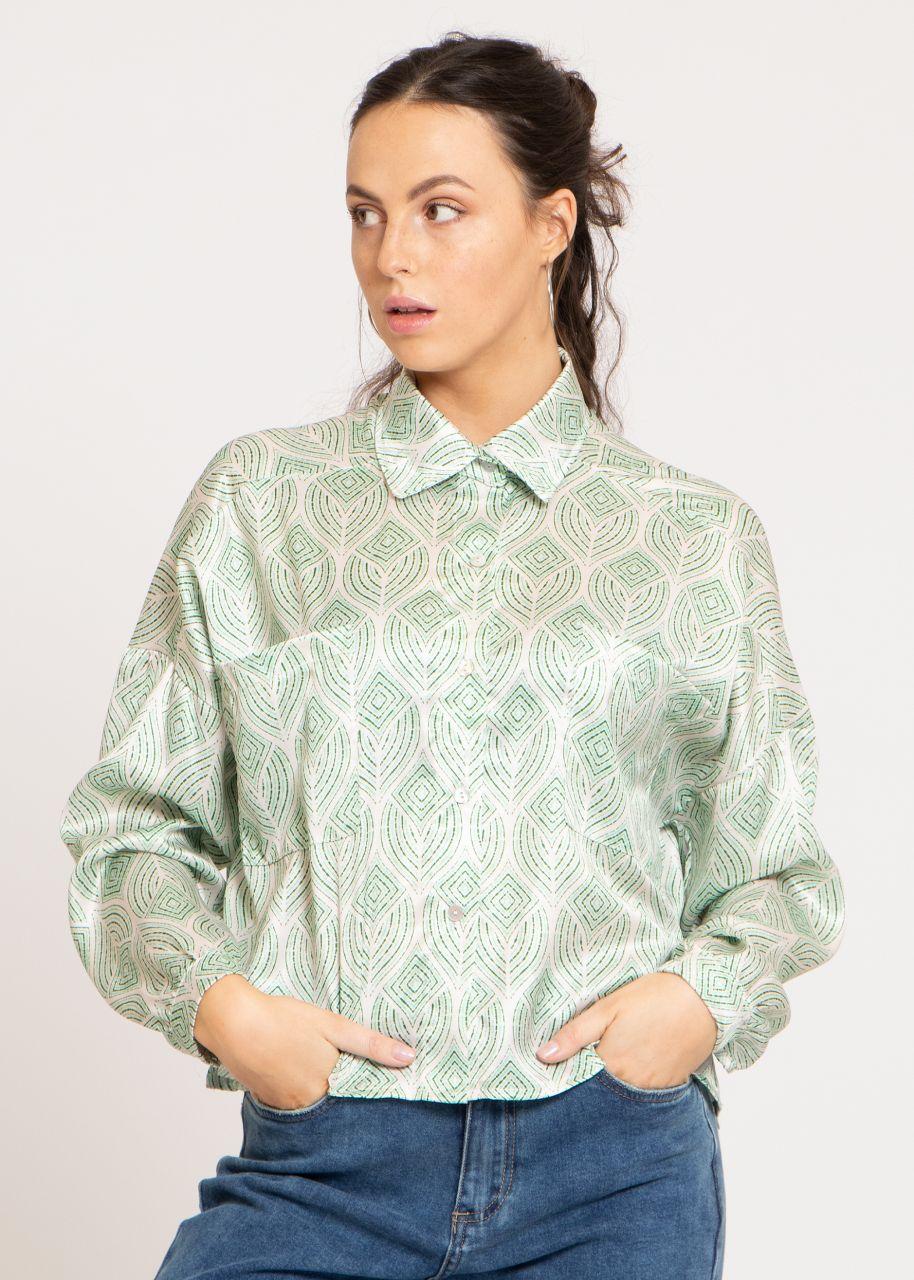 Oversize Satin-Bluse mit Print, grün