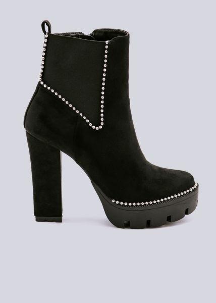 Chelsea-Stiefeletten mit Plateau, schwarz