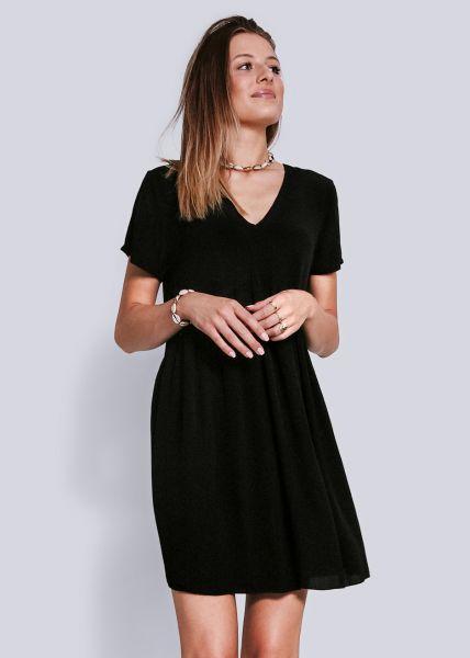 Hängerchenkleid mit V-Ausschnitt, schwarz