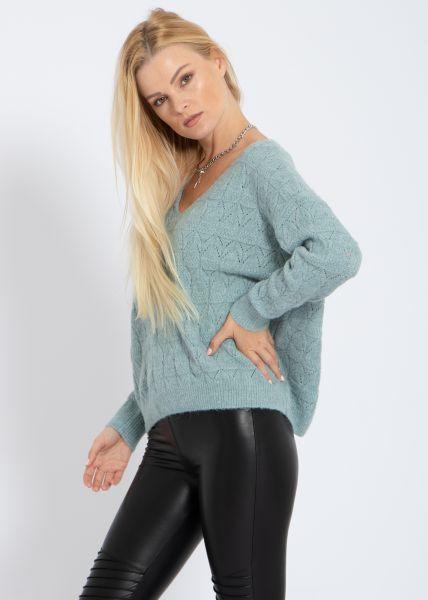 Pullover mit Muster, petrolgrün