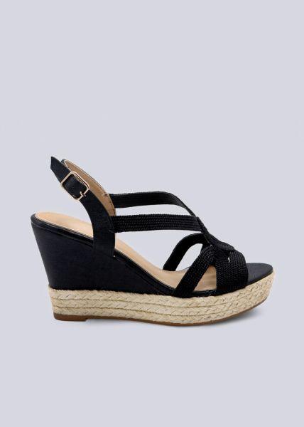 Sandalen mit Keilabsatz, schwarz