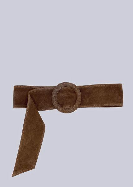 Taillengürtel in Veloursleder, dunkelbraun