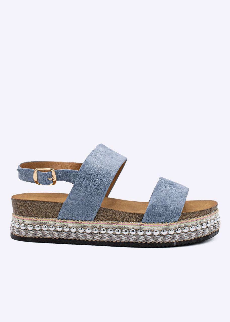 Plateau-Sandalen mit Nieten, blau