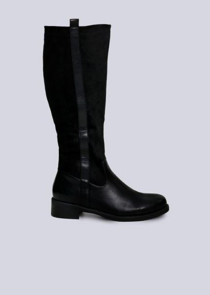 Kniehoher Stiefel mit Blende, schwarz
