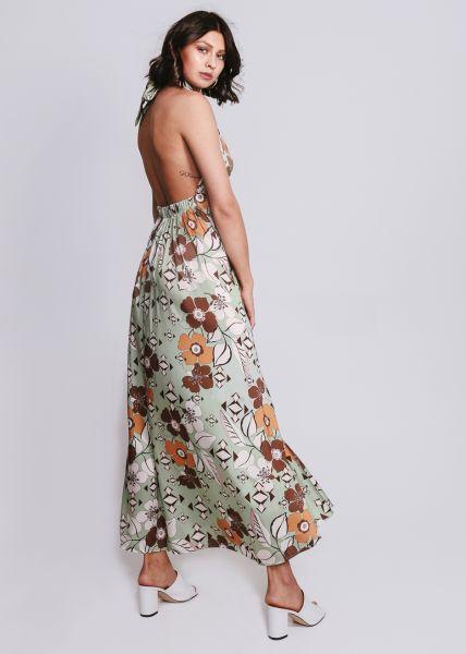 Rückenfreies Maxi-Kleid mit Print, grün
