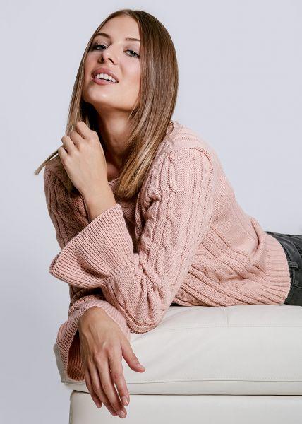 Zopf-Pullover mit Volantsärmel, rosa