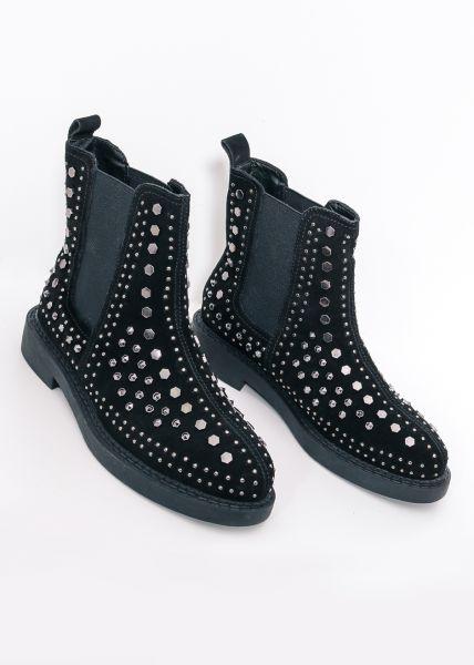 Leder-Boots mit Nieten, schwarz