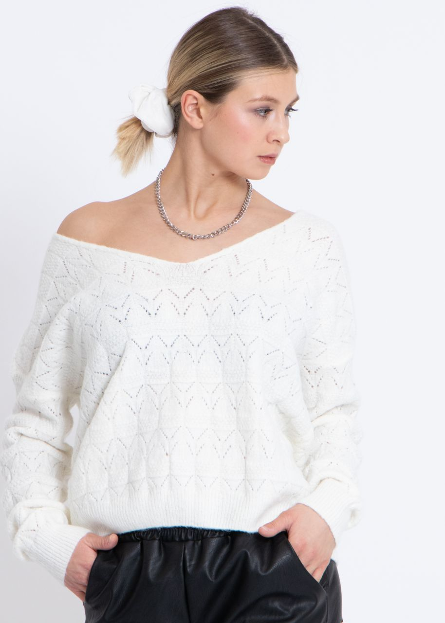 Pullover mit Muster, offwhite