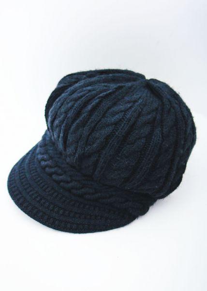Schirmmütze aus Strick, schwarz