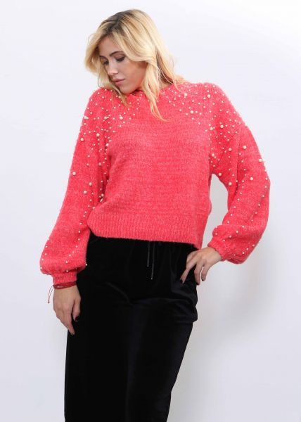 Softer Pullover mit Perlen, rot