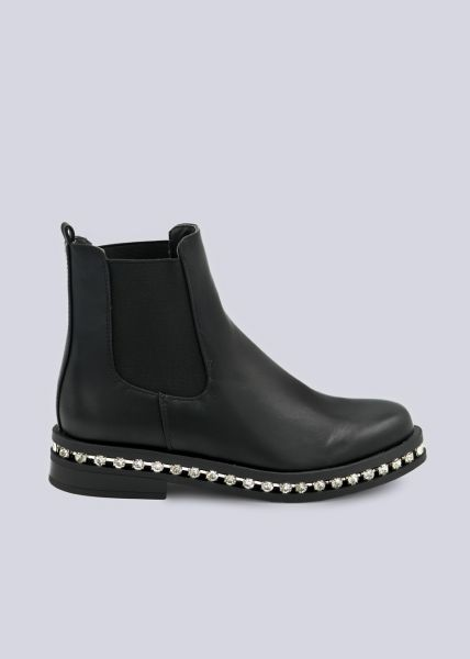 Chelsea-Boots mit Schmucksteinen, schwarz