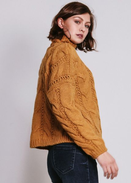 Pullover mit Zopfmuster, senfgelb