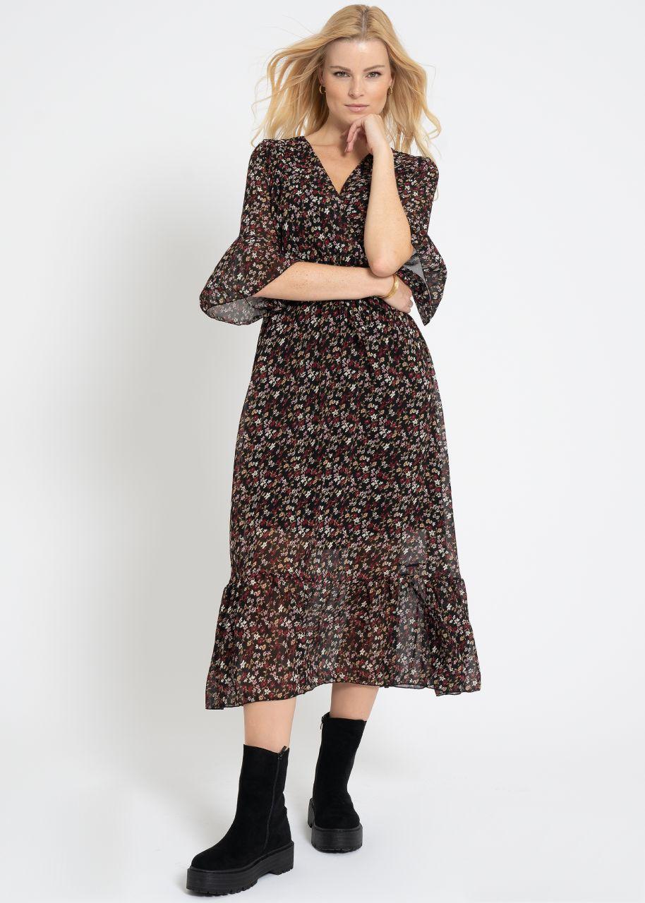 Midi Kleid mit Wickel-Optik und Blümchen-Print, schwarz