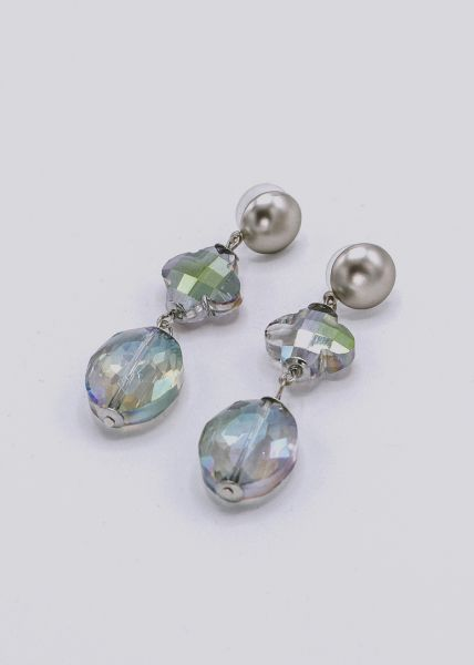 Ohrhänger mit funkelnden Steinen, silber