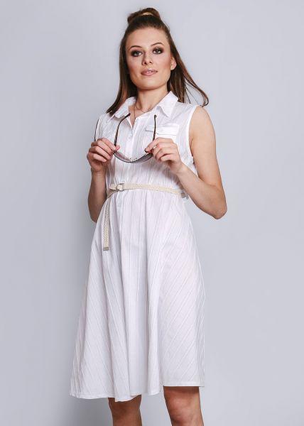 Hemdblusenkleid mit Gürtel, weiß