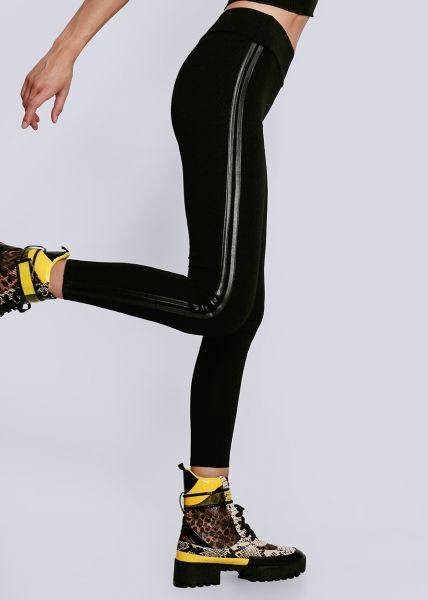 Leggings mit Lederstreifen, schwarz