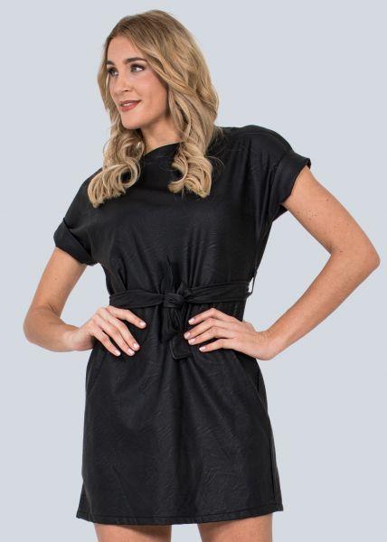 Mini-Lederkleid, schwarz