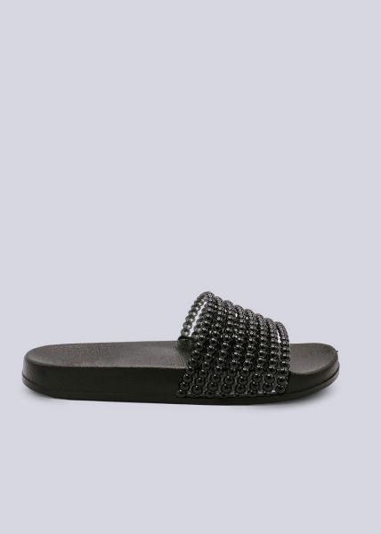 Slider mit Perlen-Steg, schwarz