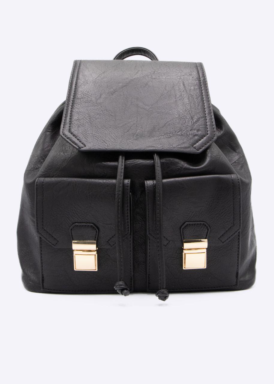 Softer Rucksack mit gold Details, schwarz