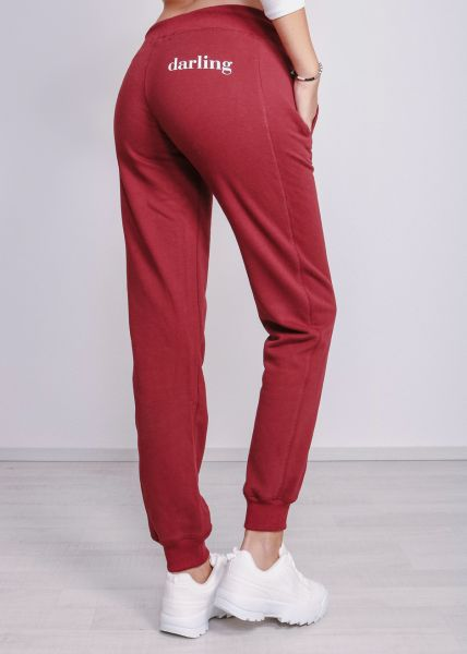 "Loungepants mit ""darling"" Print, weinrot"