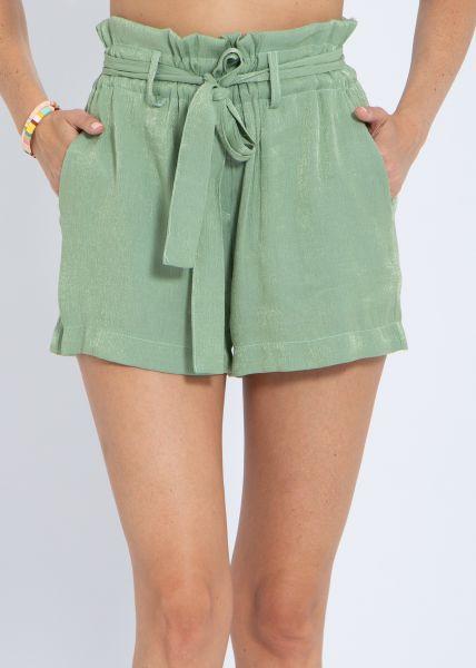 Paperbag-Shorts mit Schimmer, grün