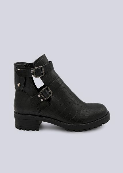 Cut-Out Booties in Kroko-Optik, schwarz