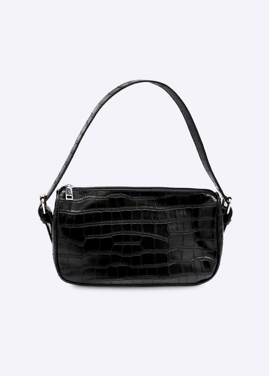 Kroko-Bag mit Reißverschluss, schwarz