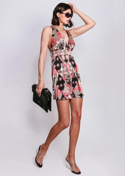 Rückenfreies Kleid mit Print, rot