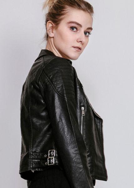 Biker-Jacke in Kunstleder, schwarz