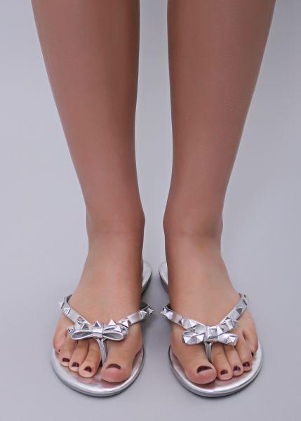 Flip Flops mit Schleife, silber
