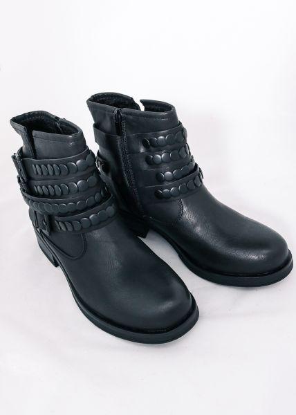 Biker-Boots mit schwarzen Nieten, schwarz