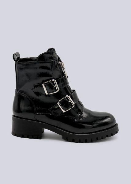 Lack-Boots mit silbernen Schnallen, schwarz