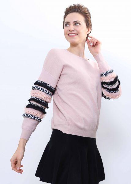Oversize Pullover mit Rüschen, rosa