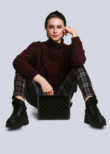 Pullover mit Zopfmuster, weinrot