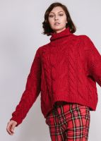 Pullover mit Zopfmuster, rot