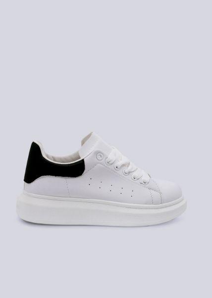 Sneaker mit schwarzer Ferse, weiß