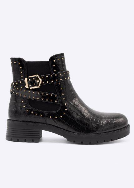 Kroko-Boots mit goldenen Nieten, schwarz