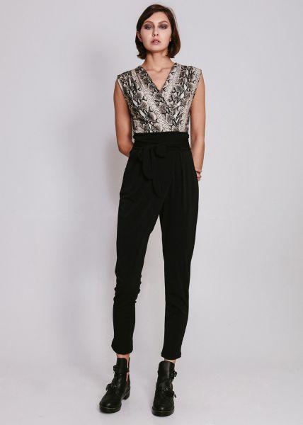 Jumpsuit mit Snake-Print, schwarz