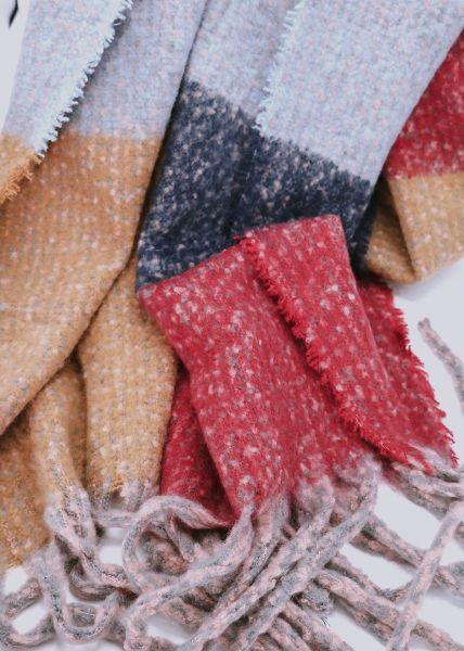 Streifen-Schal mit Fransen, rot/camel/grau