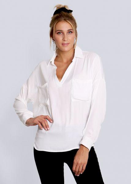 Oversize Blusenhemd, weiß