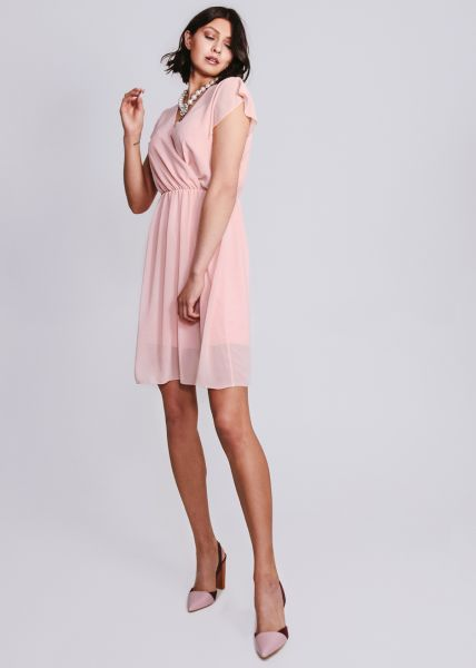 Chiffonkleid in Wickel-Optik, rosa